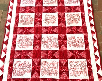 quilt pattern, quilt, pattern, hard copy pattern, pattern booklet, redwork, Words to Live By, quilting, sewing