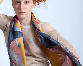 Silk's scarf, with spectacular landscape of Volcanoes and Smokes, Gold sky, Hand-drawn