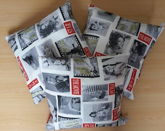 Pillow cover patterned retro film from the 50s and 60s
