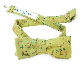 Morden pop art colour geo print bow tie