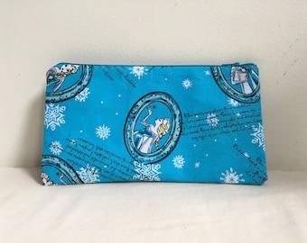 Notions Bag, Notions Pouch, Pencil Case, Phone purse, Makeup Bag, Frozen Inspired, Elsa