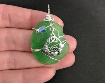 Celtic Pendant! Green Sea Glass with Sterling Silver Claddagh Symbol wrapped with wire, glass and Sterling Silver Beads, Friendship, Love