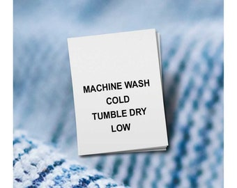 100 PRINTED CARE LABELS (Style 1-Machine Wash Cold...)