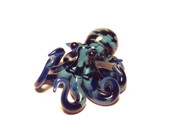 Small textured Glass Octopus pendant blue cobalt teal colored