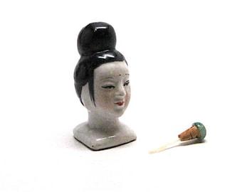 Vintage Asian Snuff Bottle, Asian Woman Bust, Figural, Scent Jar, Perfume, Dauber, Ceramic, Hand Painted, Mid Century, Jade Stopper, c1960's