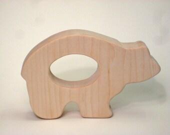 Wooden Teether, Bear Teether Toy, Wooden Bear Teether, Bear Wood Teether, Teething Baby Toy, Teething Toy, Wooden Teething Toy