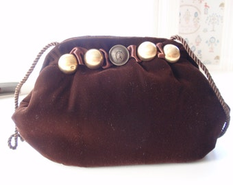 Equestrian Brown Velvet Evening Bag
