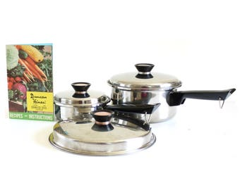 Duncan Hines Pots Pans, Saucepan or Skillet Lid, Cookware 3 ply Stainless Steel Regal Ware