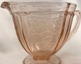 Cherry Blossom Vintage Glass Pink Creamer