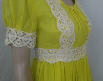 FREE SHIPPING 1970's Boho Maxi Dress Sunshine Yellow with Crochet Details by Beverly Paige