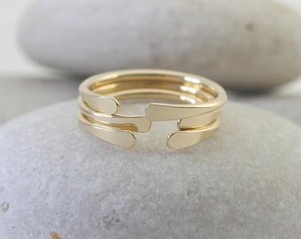 3 smooth hammered horseshoe rings in yellow or rose gold fill or silver, knuckle rings