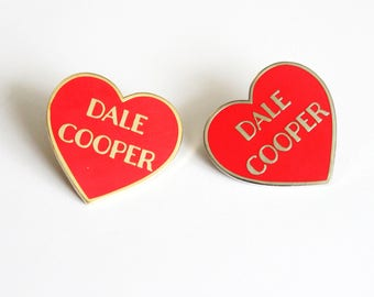 "Dale Cooper Red and Silver or Gold Heart Pin // Twin Peaks inspired // 1.25"" hard enamel lapel pin"