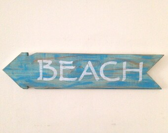 Rustic BEACH Sign Made out of Reclaimed Tongue and Groove Wood