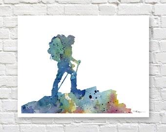 Hiker Art Print - Abstract Watercolor Painting - Wall Decor