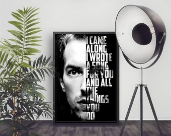 Coldplay Art Print - Coldplay Yellow - Coldplay Lyrics - Coldplay Poster - Song Lyrics - Custom Lyrics Art - Chris Martin - Wall Art