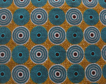 Ankara fabric, By the yard, Mustard and Turquoise Fabric, Record African Print, Colourful Circle Print, Bold African Print, wax print,