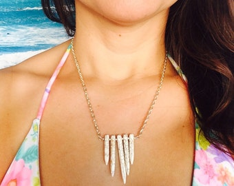 White Howlite Tribal Necklace.