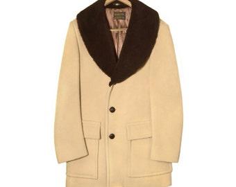 Pendleton Wool Coat, Camel, Faux Fur Collar, Vintage 1960s