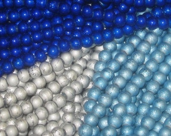 6mm Drawbench Drizzler Glass Beads  Icecap Mix   60