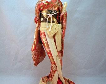 Large Vintage Japanese silk Skinned Doll Music Box Circa 1950's