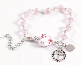 Light Pink Crystal Rosary Bracelet