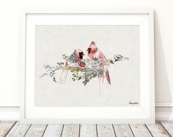 Cardinal Bird Prints, Valentines Gift, Birds On Branch , Cardinal Print, Print Art of Watercolor Birds
