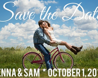 Save the Date Card with Photo for Wedding Announcement