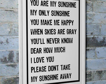 """Kid's Room Art """"You Are My Sunshine My Only Sunshine"""" Wall Photo Print Poster Decor"""