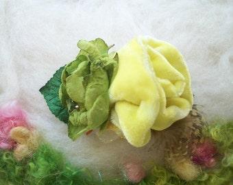 Velvet Rose Hair Barrette Velvet Rose Flowers Leaves Feathers Hair Accessory Fantasy Whimsical Fairytale Velvet Rose Hair Clip Handmade