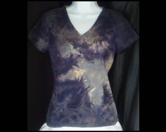Acid washed medium shirt Basic Editions baby doll blouse tee bleached top acid wash blue grey gray cream lilac t-shirt (shirt no. 156)