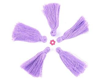 X 10 clear 30mm (295D) purple thread tassel