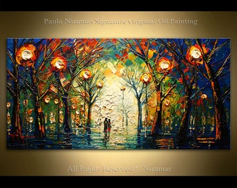 Oil painting on canvas  Evening Walk Palette Knife landscape art by Nizamas ready to hang