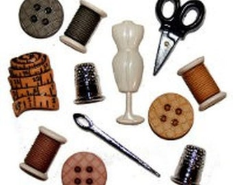 Sewing Room Kit Shaped Buttons - Set of 12 - Thimble Scissors Tape Measure Reel Button