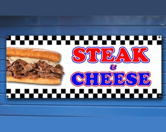 "STEAK and CHEESE BANNER -  Shop Banner fair concession food Sign 24"" x 60"""