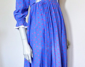 Vintage Laura Ashley, Blue Floral, Prairie, Maxi Dress, Made In Wales, Dyers And Printers, Size 12