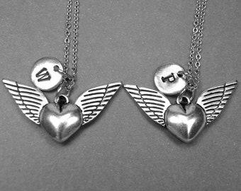 Best friend necklace, wing necklace, winged heart necklace, heart necklace, wings charm, best friend gift, best friend jewelry, monogram