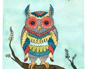 Owl Art Print - Bright Owl - Giclee Print - Watercolor - 8x10