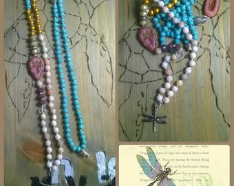 Long chain dragonfly Agate glass beads Ceramic Beads
