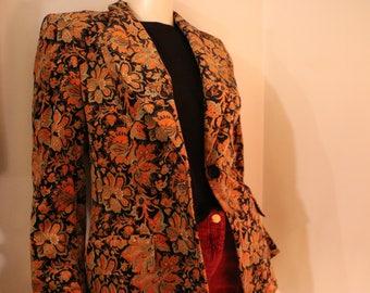 Velvet Floral Saks Fifth Avenue Blazer 70s 80s 90s