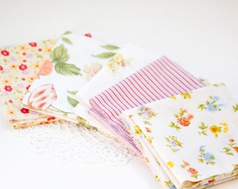 Coordinating Vintage Sheet Fat Quarters,  Great for Crafting, Quilting or Sewing