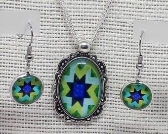Necklace Earring Set, Bright Fun Necklace, Drop Dangle Earrings, Patterned Set, Choose Chain Length, Boho Pendant Earrings, Matching Set