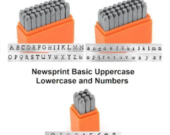 ImpressArt Basic NEWSPRiNT UPPERCASE, LOWERCASE and Numbers Metal Stamp Set Alphabet Economy Stamping Kit 3mm Typewriter Typestyle