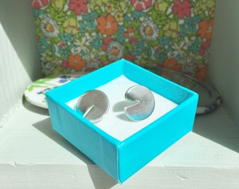 Sterling silver modern statement disc earrings