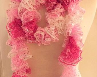 "NEW Hand Crocheted Ruffled Extra Long Length 94"" Pink/Cream Sequins HANDMADE"