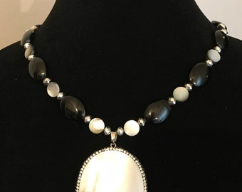 Glass and Shell Beaded Necklace with Large Abalone Shell Pendant