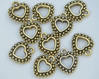 Heart Charm, Gold Finish (CH-G-3), 10 count