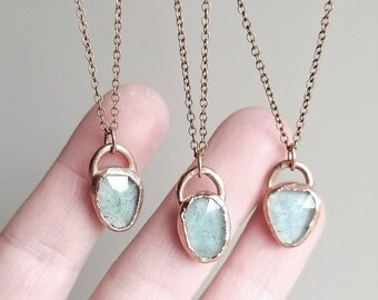Moss Aquamarine Necklace // Aquamarine Jewelry For Her Raw Crystal Necklace Aquamarine Pendant Bohemian Jewelry Electroformed Jewelry