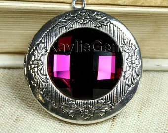 Locket Pendant Antique Silver Amethyst Glass Antique Victorian Style 1 pc