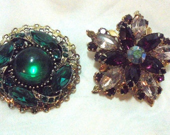 2 Vintage Rhinestone Pin Brooches, Green and Purple Pins