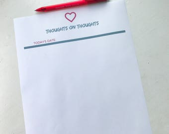 Thoughts on Thoughts Daily Journal Printable